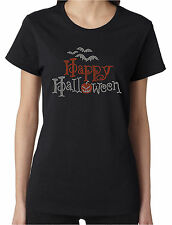 Happy Halloween Bats Pumpkin Rhinestone Women's Short Sleeve Shirts
