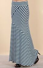 SEXY FOLD OVER WAIST BLACK RED NAVY BLUE STRIPED MAXI KNIT SKIRT NAUTICAL S M L
