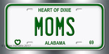 Alabama  License Plate Vintage Custom Vanity Personalized Aluminum 1968 to 1976