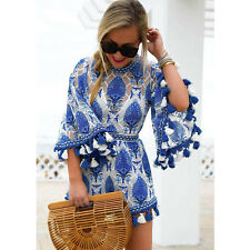 Womens Holiday Lace Mini Playsuit Ladies Jumpsuit Summer Beach Dress Size 8-20