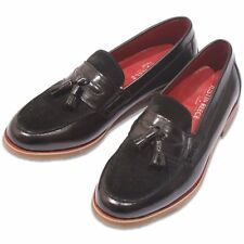 Justin Reece Suede and Leather Tassel Loafer Black