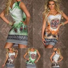 Print Retro Flower Feather Dress Chain Mini Dress Sleeveless Women