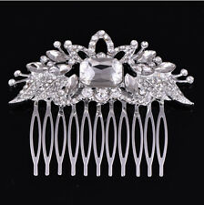 Vintage Gold Silver Wedding Party Hair Comb Crystal Bridal Accessories Handmade