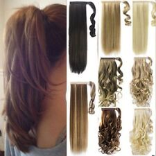 Wrap Around Ponytail Clip in Hair Extensions Mega Thick Natural Pony Tail UK TGF