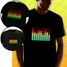 Fashion Mens Sound Activated LED Electro T-Shirt Dance Rave Party Music Concert