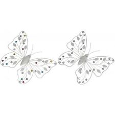 Decode Butterfly 34x30 cm METAL Mural White with Strass Stones Patio
