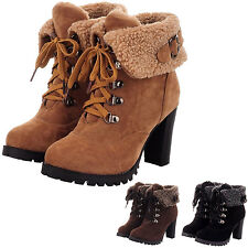 Womens furry Booties Vintage lace up oxford Ladies Warm Western Ankle Boots Size