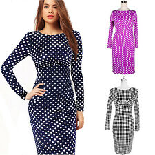 Wiggle Bodycon Clubwear Casual Long Sleeved womens Knee Length Party Dress size