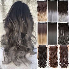 UK Sale One Piece Clip In Hair Extensions Long Straight Curly As Human Brown FP1