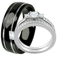 His Hers 925 Sterling Silver Engagement Wedding CZ Ring Set Black Titanium Band