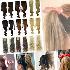"18""-23"" Clip In as Human Hair Extension Pony Tail Drawstring Tie Up Piece Long H"