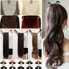 Drawstring Tie Up Clip in on Hair Extension As Human Pony Tail Ponytail H1
