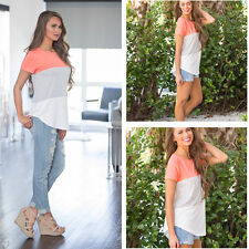 Women FemaleSummer Causal Hit Stitching Color Short Clothes Sleeve T-shirt Tops