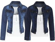Womens Mid Wash Blue Denim Chest Pocket Button Long Sleeve Jean Jacket Coat