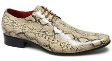BRENZONE Mens Faux Snakeskin Leather Lace-Up Smart Casual Pointed Shoes Beige
