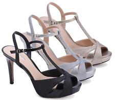 WOMENS LADIES HIGH HEEL STRAPPY STILETTO SANDALS ANKLE STRAP CUFF PEEP TOE SHOES