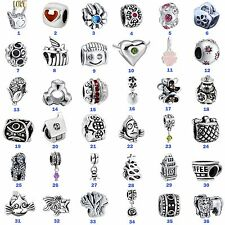 HOT European Silver Bead Charms Jewelry For 925 Sterling Bracelet Chain Necklace