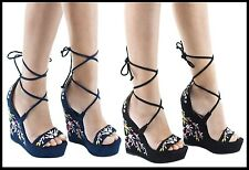 Womens Wedge Heel Sandals Floral Block Heels Suede Strappy Ladies Platform Greek