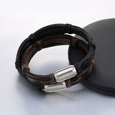 1pc Hand Braided Bracelets Simple Style Leather Bracelets Magnetic Clasp For Men