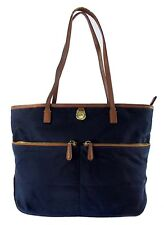 **MICHAEL KORS KEMPTON Pocket Navy Blue Nylon/Brown Leather LG Tote Bag Msrp$138