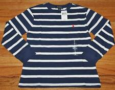 NWT Polo Ralph Lauren Boys Long Sleeve Pony Logo T-Shirt Navy Blue Striped *3U