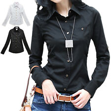 NEW Office womens Ladies Casual blouse Button Down Shirt Winter summer Top Size