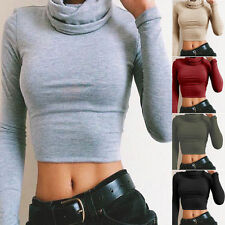 Womens High Neck Cowl Long Sleeve Basic Crop Top Stretchy T-Shirt UK Size 6-14