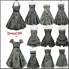 dress190 Grey 50s Rockabilly Vintage Pinup Party Cocktail Prom Bridesmaid Dress