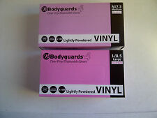 Bodyguards 4 Clear Vinyl Gloves Lightly Powdered x 100 Small Medium Large XLarge