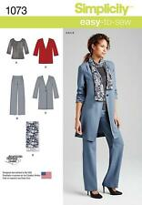 SIMPLICITY SEWING PATTERN Misses' Pants Coat Jacket Scarf & Knit Top 6 - 22 1073
