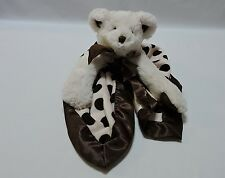 Bearington Baby Collection Security Cuddle Blanket Pink Bear Brown Dots Satin