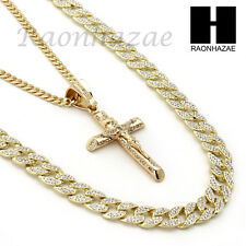 ICED OUT JESUS CRUCIFIX PENDANT 6mm CUBAN/12mm ICED OUT CUBAN CHAIN NECKLACE S17
