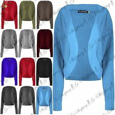 Ladies Womens Cable Chunky Knit Long Sleeve Open Shrug Front Cardigan Bolero Top