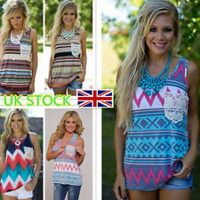 Womens Tank Tops Retro Striped Sleeveless Ethnic Vest Tops Beach Ladies T Shirt