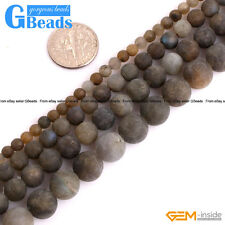 Natural Rainbow Labradorite Gemstone Frost Matte Round Beads Free Shipping 15""