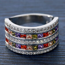 18kt white Gold Filled colorful gemstone CZ Wedding Engagement band Ring