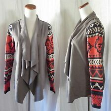 NEW CHARCOAL Faux SUEDE Sweater Knit TRIBAL Sleeves OPEN DRAPED Front CARDIGAN
