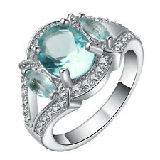 light blue gemstone CZ Wedding Engagement 18kt white Gold filled Ring Size 7-10