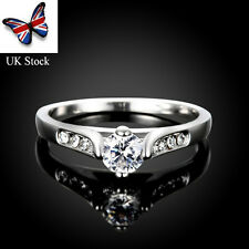 Women Lady Fashion Jewelry 925 Sterling 18K Gold Ring Engagement Wedding Rings