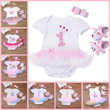 Newborn Baby Girl 1st Birthday Outfit 3pcs Set Romper Dress Shoes Headband Cute