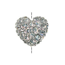 Beadelle Crystal Pave 10mm Heart Bead Vertical Hole Silver Plated / Crystal