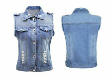 Womens Vintage Waistcoat Gilet Pockets Sleeveless Ladies Denim Blue Jacket Jeans