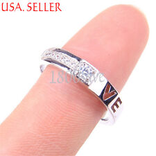 "925 Sterling Silver ""LOVE"" cut-out Heart Crystal Open Couple Band Ring Z1215"