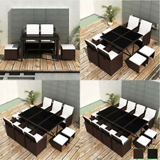 Poly Rattan Furniture Set Dining Set Table / Chairs / Stools Set Black / Brown