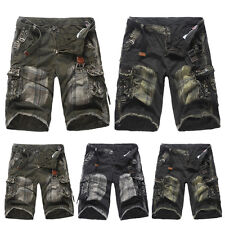 Mens Chic Military Army Shorts Camo Cargo Combat Pants Short Cropped Trousers