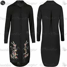 Womens Embroidered Patch Collared Long Sleeve Rose Button Down Hi Lo Shirt Dress