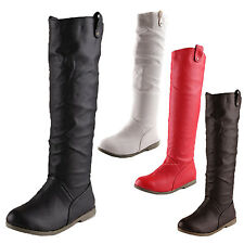 Long Womens Shoes Leather Look Pull On Knee High Vintage Booties Boots sz 4