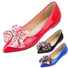 VANCY Ladies Dolly shoes bow Womens Vintage Ballerinas Ballet Flats Size 4-15
