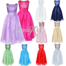Girl Sequined Flower Princess Wedding Pageant Prom Ball Formal Dress Bridesmaid