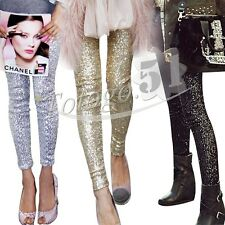 Fashion Womens Slim Skinny Sequins Leggings Stretchy Sexy Jeggings Pencil Pants